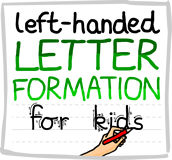 Left handed letter formation guide